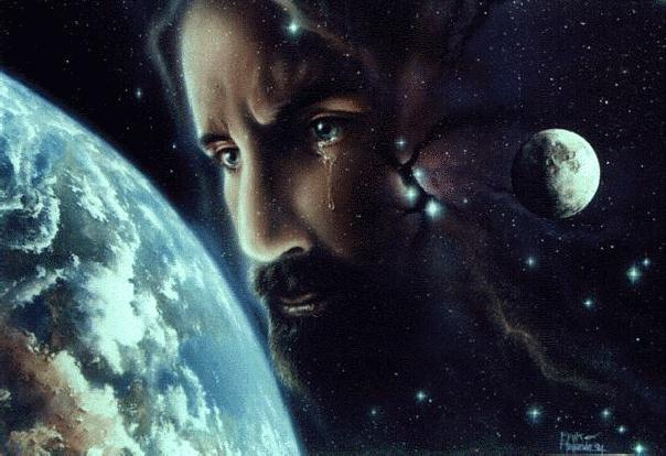 Jesus looks at the Earth